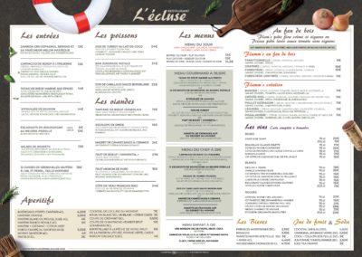 Menu – Restaurant l'Écluse